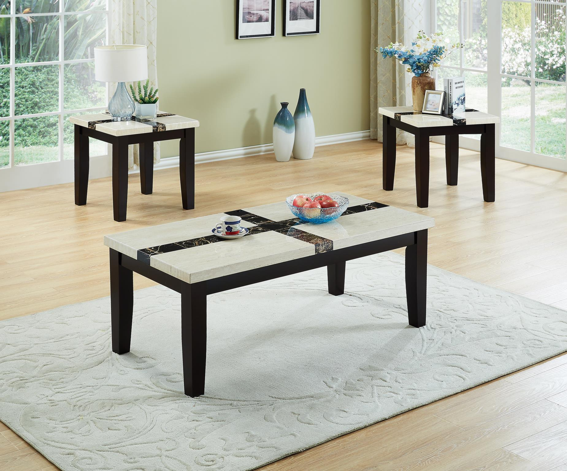 White Faux Marble Coffee Table Set Cross